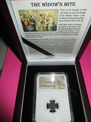 """1 - NGC SLABBED ANCIENT ROMAN COIN """"PRUTAH WIDOW'S MITE"""" as in the Bible"""