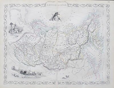 c1854 RUSSIA IN ASIA Genuine Antique Map by Rapkin FREE SHIPPING WORLDWIDE