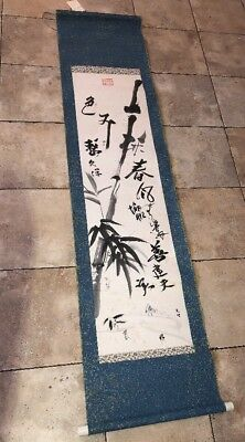Painting Scroll Signed & Stamped Antique Japanese Stamped Calligraphy & Bamboo