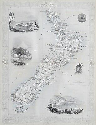 c1854 NEW ZEALAND Genuine Antique Map by Rapkin FREE SHIPPING WORLDWIDE
