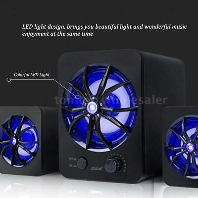 USB Wired Colorful LED Computer Speakers Stereo Super Bass Music For Laptop PC