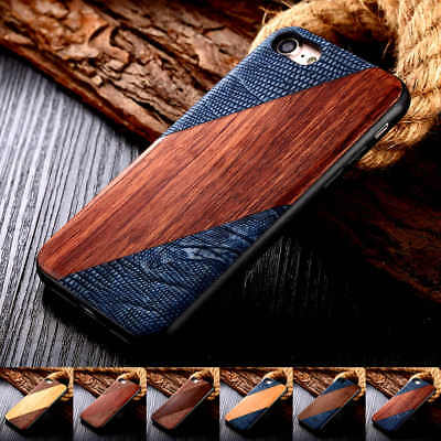 For iPhone 6s 7 8 Plus Deluxe Wood Wooden Hybrid Back Shockproof Ultra-Thin Case
