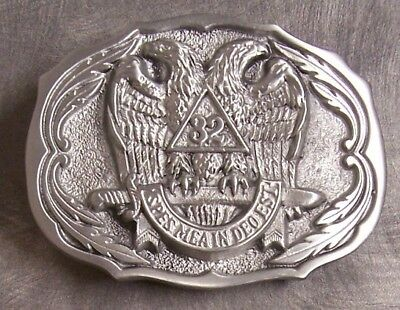 Pewter Belt Buckle Fraternal Freemasonry Masonic 32nd degree free Mason NEW