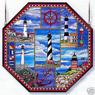 """Lighthouse Collage * Nautical Ship Wheel Anchor 22"""" Octagon Stained Glass"""