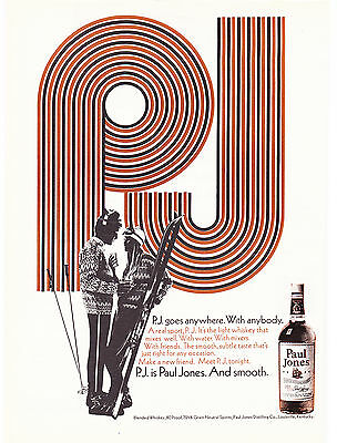 Original Print Ad-1970 P.J. is Paul Jones and Smooth-Goes anywhere. Skiing Theme