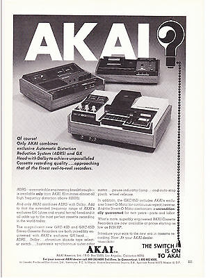 Original Print Ad-1972 The Switch is on to AKAI-CASSETTE MODELS GXC-46D&GXC-65D