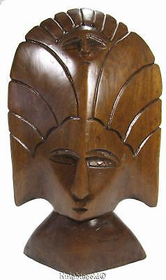 Wood Mask Philippines Standing Wall Hanging 80's Vintage 26 x 16.5 cm