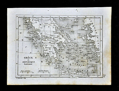 1835 Levasseur Map - Greece & Ionian Republic  Athens Crete Cyclades Naxos Paros