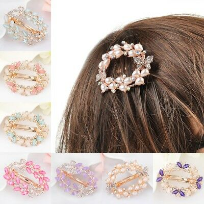 Fashion Women Girls Crystal Rhinestone Flower Barrette Hair Clip Clamp Hairpin