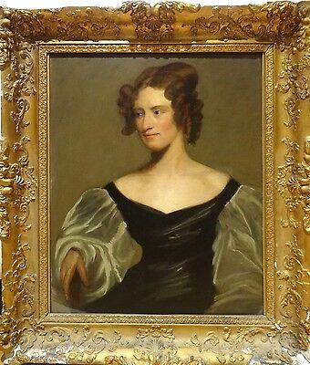 Fine Large 19th Century English Master Portrait of a Lady Antique Oil Painting