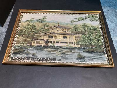 "Antique Japan Kyoto Kinkakuji Needlepoint - Framed - 17 1/4"" x 12"""