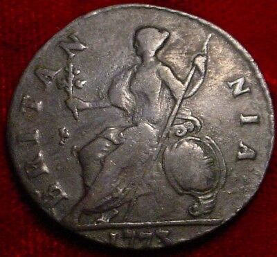 Old British Copper 1773 1/2 Penny Great Britain**nice Detailed Coin***