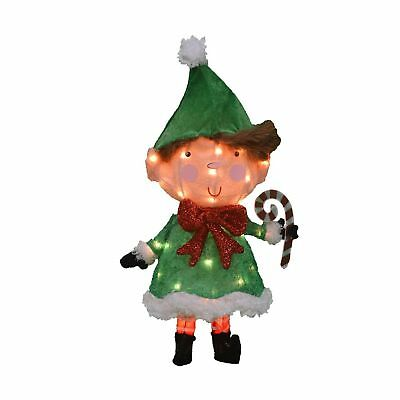 24-Inch Pre-Lit 3D Victoria Hutto Elf Christmas Yard Decoration, 35 Lights