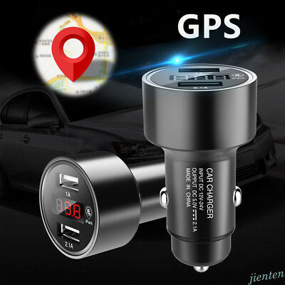 Car GPS Tracker Locator Real Time Tracking Device Dual USB Charger Voltmeter 1Pc