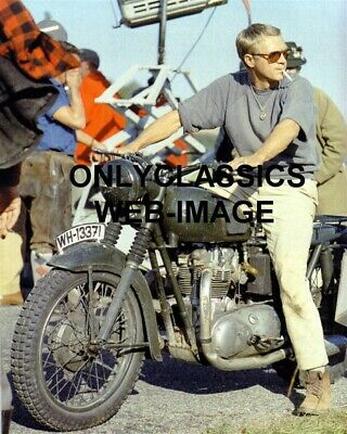 1963 COOL STEVE McQUEEN MOTORCYCLE THE GREAT ESCAPE ON SET WWII PHOTO CIGARETTE