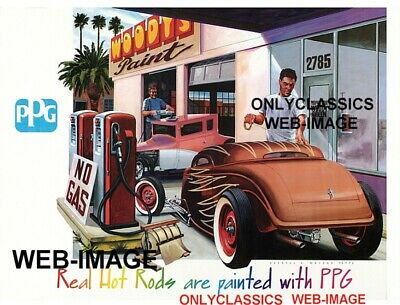 Ppg Poster-Hot Rod At Gas Station Woody's Paint Shop Automobilia Street Rat Rod