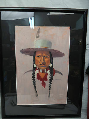 Antique Painting Native Mexican Navajo Indian Feather In Hat Signed RD Eorter