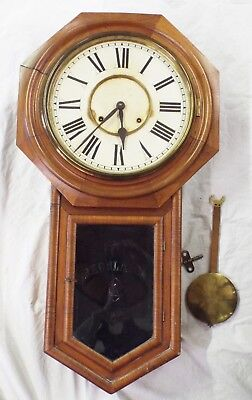 Old Antique Oak ANSONIA REGULATOR WORLD WALL CLOCK w/ Key & Pendulum RUNS
