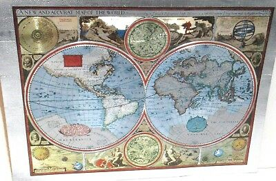 A New And Accvrat Silver & Gold Foil Small Map Of The World Unframed