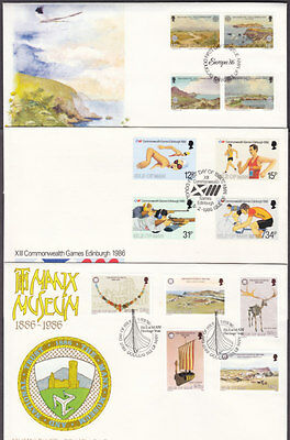 Isle Of Man 1986 Complete Commemorative Year Set Of First Day Covers ( 9 ).