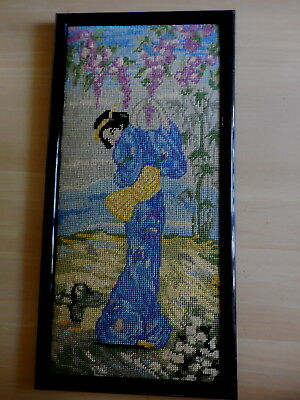 Tapestry Geisha Girl Blue Professionally Completed And Framed