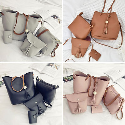 Women 4pcs PU Leather Shoulder Bag Tote Handbag Purse Messenger Satchel Clutch