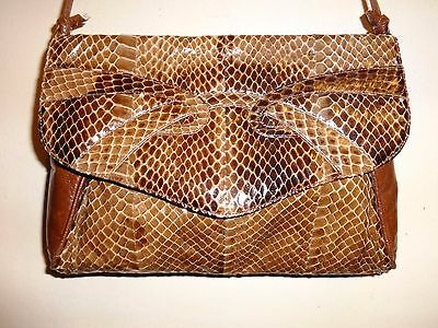 REAL SNAKESKIN LEATHER PURSE / MADE IN CANADA not China / Brown Shoulder Bag VTG