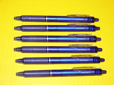 Pilot Frixion Clicker Erasable Gel Ink Retractable Pen, Blue Ink, .7mm lot of 6