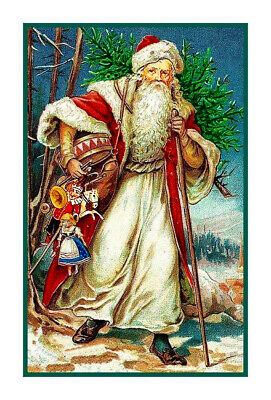 Vintage Christmas Holiday Santa Claus # 504 Counted Cross Stitch Pattern