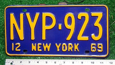 NEW YORK - 1969 PRESS license plate - beautiful looking NYP type, all original