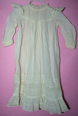 long Vintage Victorian Baby  Christening Gown Dress WORE OUT prim laundry decor