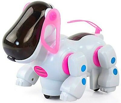 Robot Dog Puppy Pink Girls Toys Stroll Action Head Tail Movements, Leds & Music