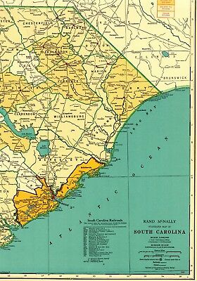 1955 Vintage SOUTH CAROLINA State Map RAILROADS Antique Map RARE SIZE 5070