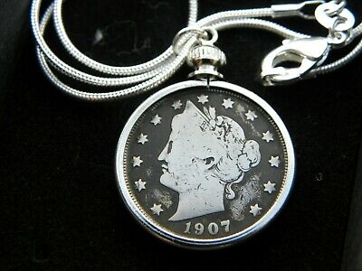 Necklace Pendant 1907 vintage old LIBERTY Nickel V coin nice birthday gift her