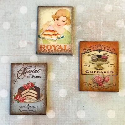 Miniature Dollhouse bakery kitchen signs cupcake chocolate CAKE baking wall art