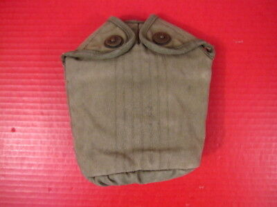 WWII US Army/USMC M1910 Canvas Canteen Cover w/Canvas Trim - Late War Version