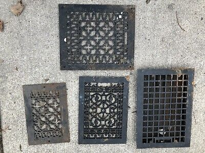 Lot Of 4 Victorian Cast Iron Floor/Wall Register Grates Various Sizes