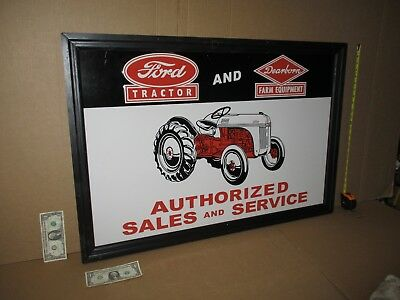 FORD Tractor & DEARBORN Farm Equipment Sign - GIANT SIZE - Wood Frame -BIG&HEAVY