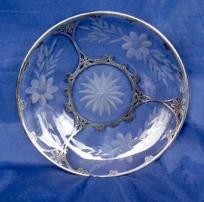"""Antique Art Deco Glass w/Silver Overlay 6"""" Saucer Dish Etched Flower Cut Glass"""