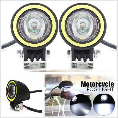 "One Pair Round 2"" 10W LED Motorcycle Working Light Spot Lamp DRL White Halo Ring"