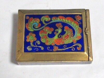 Old Cloisonne Blue Enamel Peacock Mirror Jar Box