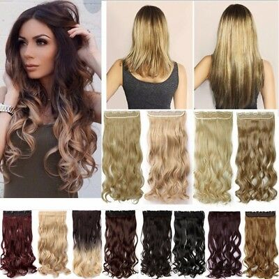 Deluxe Thick Clip In as Human Hair Extensions One Piece Real Natural OMBRE Piece