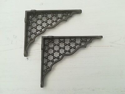 "Pair Small Cast Iron Honeycomb Shelf Brackets 6""x 5"" Victorian Antique Free P&P"