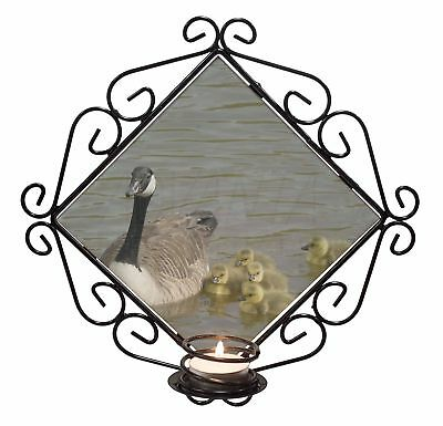 Canadian Geese and Goslings Wrought Iron T-light Candle Holder Gift, AB-G1CH