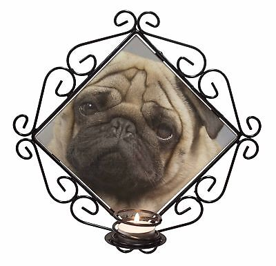 Fawn Pug Dog 'Love You Grandma' Wrought Iron T-light Candle Holder G, AD-P1lygCH