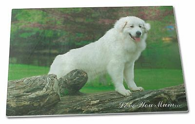 Pyrenean Mountain Dog 'Love You Mum' Extra Large Toughened Glass , AD-PM1lymGCBL