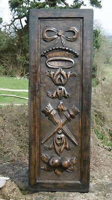 SUPERB 19thc RELIEF OAK CARVED HERALDIC PANEL WITH CROWN & TORCHERES (1)