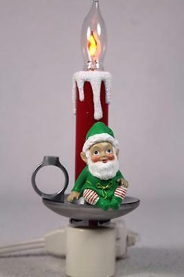 Large Night Light by Roman Inc. 'Elf With Candle' Flicker light #164582-NIB!