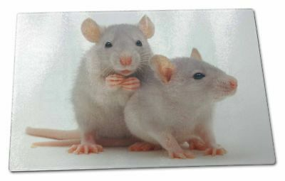 Silver Blue Rats Extra Large Toughened Glass Cutting, Chopping Board, RAT-1GCBL