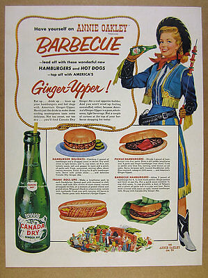 1954 Canada Dry Ginger Ale bottle art Annie Oakley Barbecue vintage print Ad